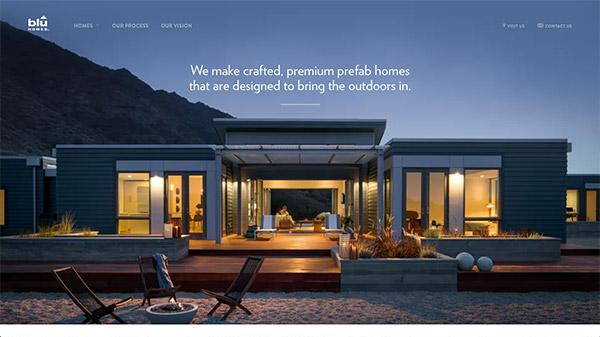 Blu Homes 网页设计合理使用动画效果案例